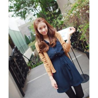 Front Pockets Design Collared Long Sleeve Chiffon Blue Casual Dress - 3