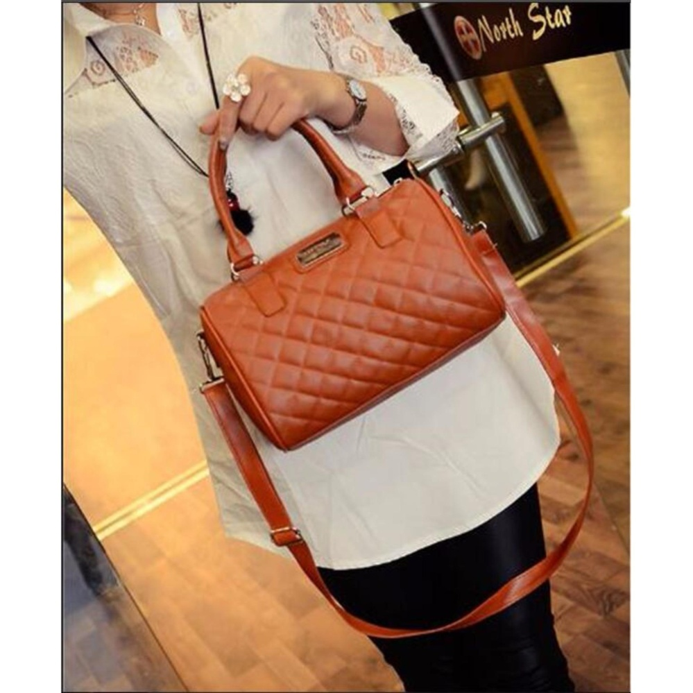 Fudun Mango Quilted Bowling Cross Body Leather Hand Bag(Brown) - intl ...