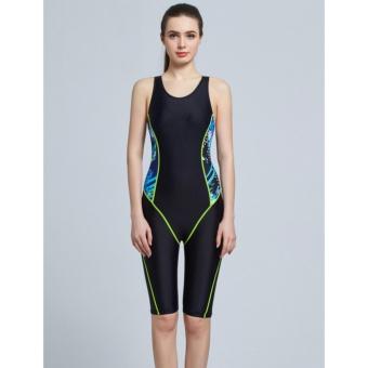 Full Brief Knee Women One Piece Swimsuit Professional Sports Competition Swimwear Slimming Bodysuit Bathing Suit-Black - intl - 3