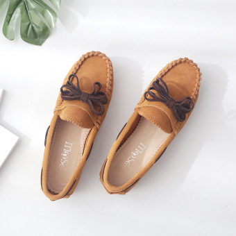 Genuine leather female Spring and Autumn breathable shoes Shoes (Maroon)
