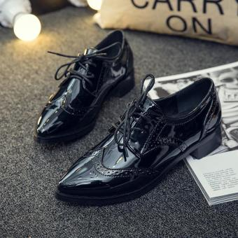 Genuine Leather Women Shoes Brogues Lace up Flat Heels pointed ToePatent Leather Black Oxfords Women Casual Shoes - intl