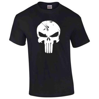 Gildan Brand The Punisher Distressed Logo Design Classic T-Shirt(Black) - 2