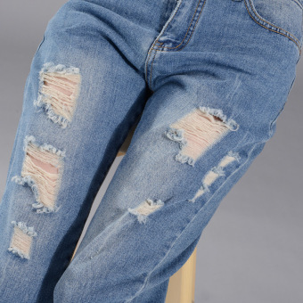 Girl jeans stright casual blue show ankle cropped jeans - 3
