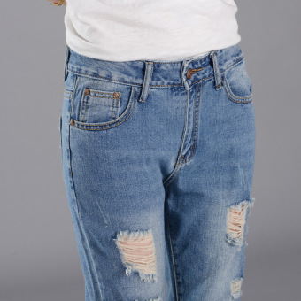 Girl jeans stright casual blue show ankle cropped jeans - 4