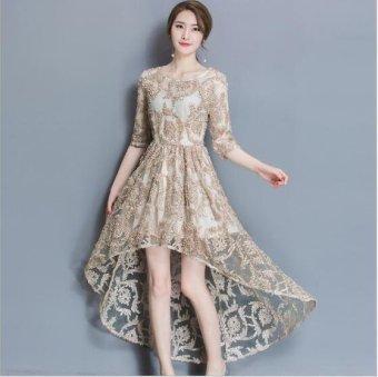 Girlhood Lace dress Full dress Longuette Gold - intl - 2