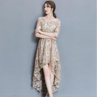 Girlhood Lace dress Full dress Longuette Gold - intl - 3