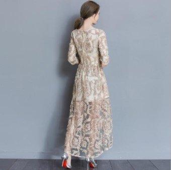 Girlhood Lace dress Full dress Longuette Gold - intl - 4