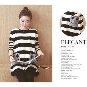 Girlhood Loose stripe maternity dress-Black - intl - 2