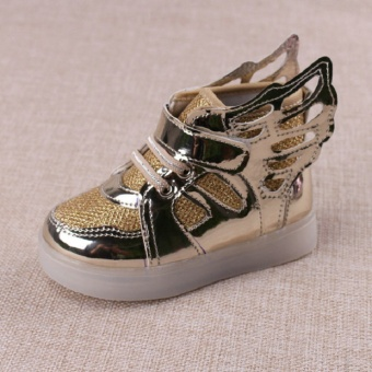 Girls Led Shoes 2017 New Spring Autumn Wings Led Shoes Glowing BoysCasual Shoes With Light for Children Lighted Sneakers-gold - intl