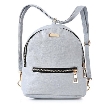 Girls PU Leather Zipper Closure Small Backpack Shoulder Bag ForWomen - intl