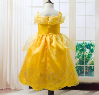 Girls Summer Belle Dresses Princess Costume Party Clothing Beauty and the Beast Yellow Dress Sleeveless Clothes - intl - 2