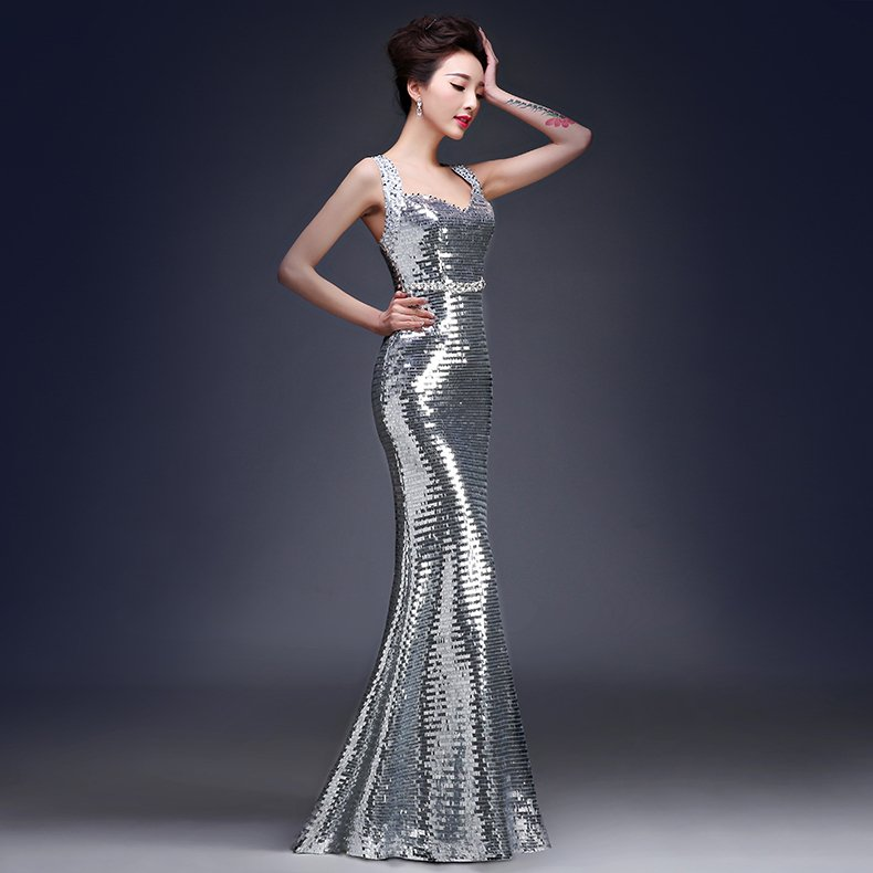 Philippines Glitter Evening Dress Elegant Long Gown Sexy Mermaid