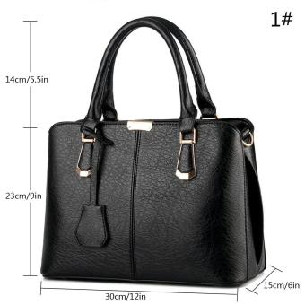 goges Womens Boutique PU Leather Shoulder Bags Top-Handle Handbag Tote Purse Bag Black - 2