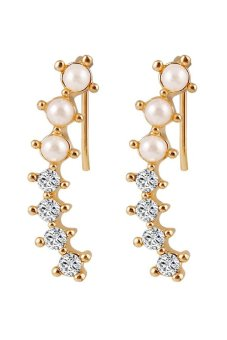 Gold Pearl Crystal 6 Beads Cuff Clips Earrings (Gold)