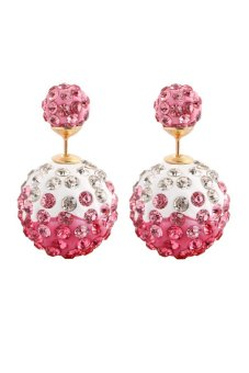Gold Plated Double Beads Rhinestone Stud Earring (Pink)