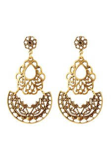 Gold Plated Long Tassel Hollow out Flower Drop Earrings (Gold)