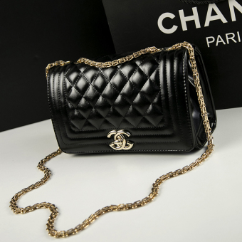 Graceful European and American New style Lingge chain bag Shishang women's bag (Black shallow gold chain)