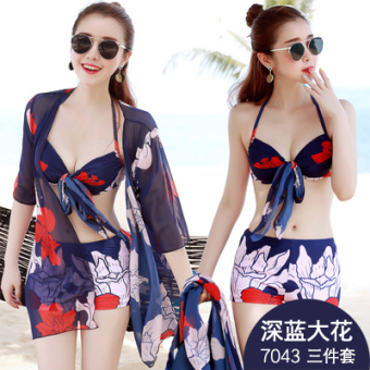 Graceful female bikini split swimsuit (7043 dark blue flower three sets) (7043 dark blue flower three sets)