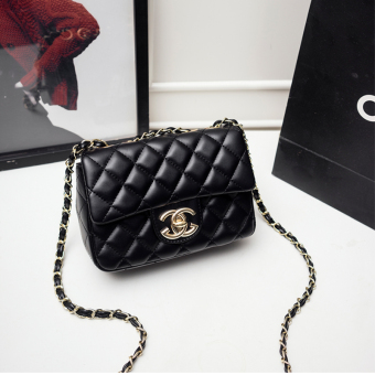 Graceful mini small bag (Black wear leather light gold chain)