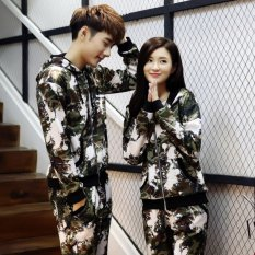 Grandwish Couples Bomber Jackets with pants Camouflage Hoodies M-3XL (Army green) - intl