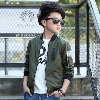 Grandwish Kids Bomber Jackets Patches Design Coat Slim 6T-16T (Army green) - intl