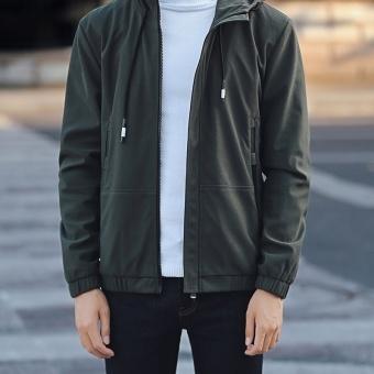 Grandwish Men Fashion Coat Baseball collar Bomber Jacket solid CoatHoodies M-3XL (Army green) - intl - 5