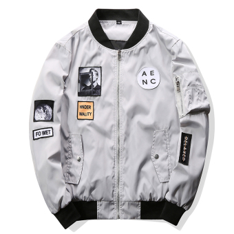Grandwish Men Letter Printing Jackets Graphic Printing Slim Bomber Jackets M-4XL (Light grey) - intl - 2