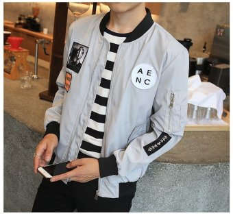 Grandwish Men Letter Printing Jackets Graphic Printing Slim Bomber Jackets M-4XL (Light grey) - intl - 5
