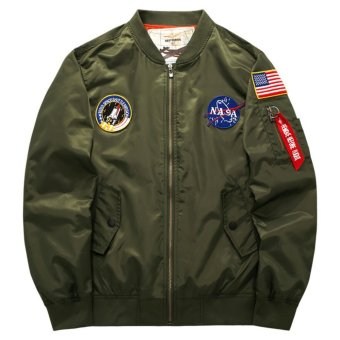 Grandwish Men Ma-1 Pilot Bomber Jacket Patch Design Coat Plus size Patches M-6XL (Army green) - intl