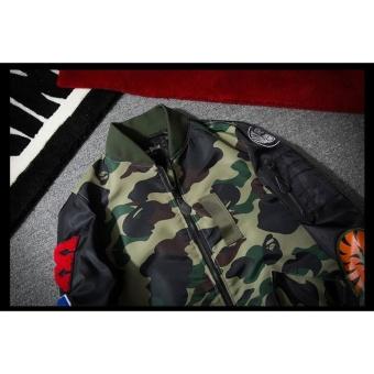 Grandwish Mens Bomber Jacket Shark Embroidery Camouflage coat M-3XL (Army green) - intl - 5