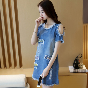 Grandwish Women Denim Ripped Holes Dress With Pearl Design Off shoulder Dress Slim S-XL (Blue) - Intl - 4