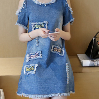 Grandwish Women Denim Ripped Holes Dress With Pearl Design Off shoulder Dress Slim S-XL (Blue) - Intl - 5