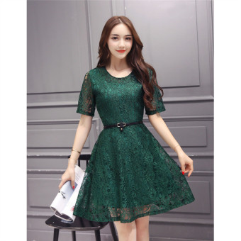 Green 2016 Fashion Women Sexy O-neck Hollow-out Lace Close-fitting Slim Floral Print Casual Short Sleeve Dress Vestidos - 4