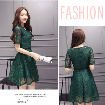 Green 2016 Fashion Women Sexy O-neck Hollow-out Lace Close-fitting Slim Floral Print Casual Short Sleeve Dress Vestidos - 3