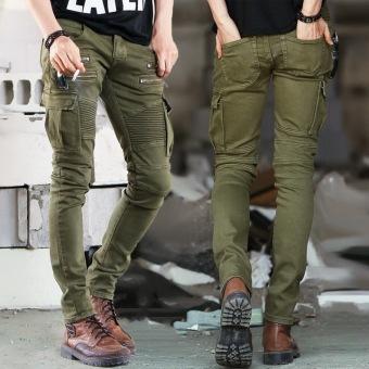 Green Denim Biker Jeans Mens Skinny 2016 Runway Distressed Slim Elastic Jeans Hiphop Washed - 2