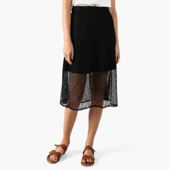 GTW Party Lace-overlay Midi Skirt (Black)