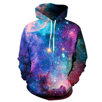 GUYUE Women's 3D Digital Print Pullover Sweater Hoodie Sweatshirt Colorful Galaxy