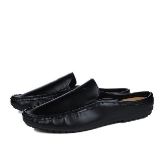 Half Dragged Shoes Men Beach Shoes Loafers Slip-on Summer Sandals(Black) - intl - 5