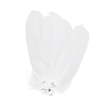 Handmade White Feather Wedding Party Hair Clip Fascinator - picture 2