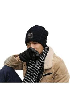 Hang-Qiao Fashion Men Knitted Beanie Hat Skull Cap Black