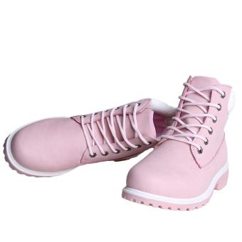 Hang-Qiao Fashion Women Ankle Martin Boots Military Combat Shoes Pink - 4