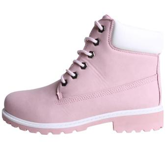 Hang-Qiao Fashion Women Ankle Martin Boots Military Combat Shoes Pink - 5