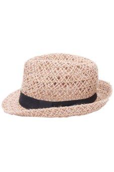 Hang-Qiao Fedora Jazz Straw Hat (Brown)