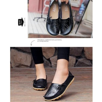 Hang-Qiao Flats Shoes Women Loafers Ladies Slip on Shoes (Black) -intl - 2