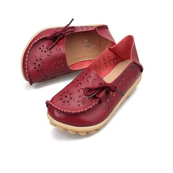 Hang-Qiao Flats Shoes Women Loafers Ladies Slip on Shoes (Red) - intl - 5