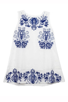 Hang-Qiao Floral Mini Dress (White/Blue)
