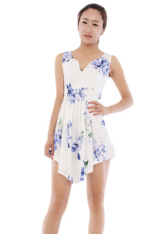 Hang-Qiao Flower Printed Dress (White) - picture 2