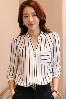 Hang-Qiao Hot Sell Korean Style Shirt Women Striped Tops V-neck Blouse White