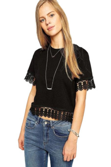HANG-QIAO Lace Stitching Tops Tshirts (Black) - picture 2