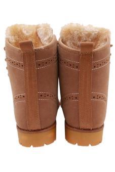 Hang-Qiao Lovers Unisex Martin Boots Winter Snow Warm Shoes Khaki - 2